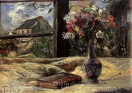 Vase of Flowers at the Window painting reproduction, Paul Gauguin
