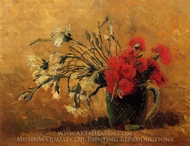Vase with Red and White Carnations on a Yellow Background painting reproduction, Vincent Van Gogh