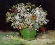 Vase with Zinnias and other Flowers painting reproduction, Vincent Van Gogh