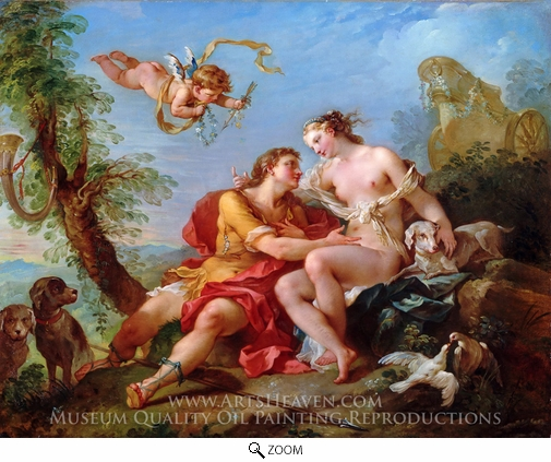 Painting Reproduction of Venus and Adonis, Charles Joseph Natoire