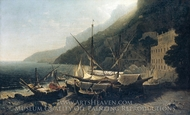 View at Amalfi, Bay of Salerno painting reproduction, George Loring Brown