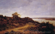 View From Plougastel, Brittany painting reproduction, Auguste Allonge