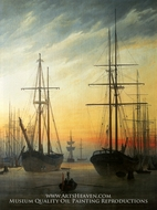 View of a Habour by Caspar David Friedrich