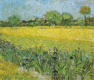 View of Arles with Irises in the Foreground painting reproduction, Vincent Van Gogh