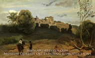 View of Genzano with a Rider and Peasant by Jean-Baptiste Camille Corot