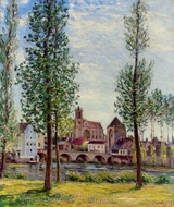 View of Moret-sur-Loing through the Trees painting reproduction, Alfred Sisley