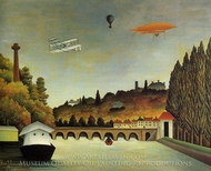 View of the Bridge at Sevres painting reproduction, Henri Rousseau