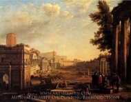 View of the Campo Vaccino painting reproduction, Claude Lorraine