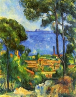 View through Trees of L'Estaque painting reproduction, Paul Cezanne
