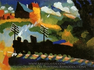View with Railway and Castle painting reproduction, Wassily Kandinsky