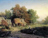 Village painting reproduction, Fedor Vasilyev