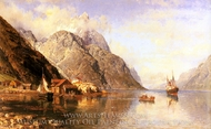 Village on a Fjord painting reproduction, Anders Monsen Askevold