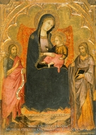Virgin and Child Enthroned with Saints John the Baptist and James Major painting reproduction, Andrea di Bartolo
