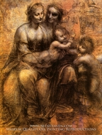 Virgin and Child with St. Anne and St. John the Baptist painting reproduction, Leonardo Da Vinci