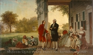 Washington and Lafayette at Mount Vernon, 1784 painting reproduction, Thomas Pritchard Rossiter
