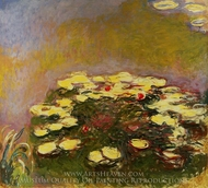 Water Lilies, Yellow painting reproduction, Claude Monet