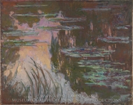 Water Lillies, Setting Sun painting reproduction, Claude Monet
