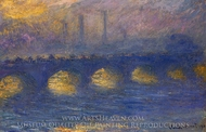 Waterloo Bridge, Overcast Weather painting reproduction, Claude Monet