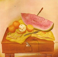 Watermelons and Oranges painting reproduction, Fernando Botero