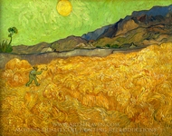 Wheatfield with a Reaper painting reproduction, Vincent Van Gogh