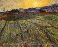 Wheatfield with Rising Sun by Vincent Van Gogh