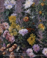 White and Yellow Chrysanthemims painting reproduction, Gustave Caillebotte