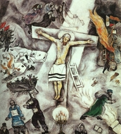 White Crucifixion painting reproduction, Marc Chagall (inspired by)