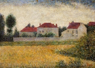 White Houses, Ville d'Avray painting reproduction, Georges Seurat