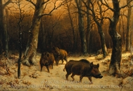 Wild Boars in the Snow painting reproduction, Rosa Bonheur