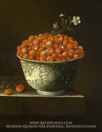 Wild Strawberries in a Wan Li Bowl painting reproduction, Adriaen Coorte
