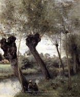 Willows on the Banks of the Scarpe painting reproduction, Jean-Baptiste Camille Corot