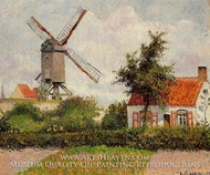 Windmill at Knocke, Belgium painting reproduction, Camille Pissarro