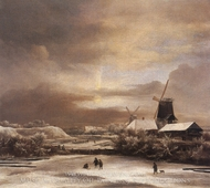 Winter Landscape painting reproduction, Jacob Van Ruisdael
