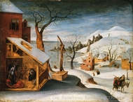 Winter Landscape with the Angel Appearing to Saint Joseph, the Massacre of the Innocents, and the Flight into Egypt painting reproduction, Abel Grimmer