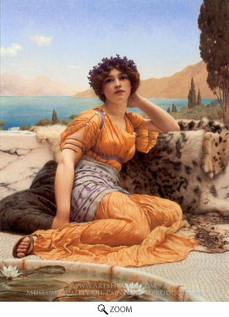Painting Reproduction of With Violets Wreathed and Robe of Saffron Hue, John William Godward