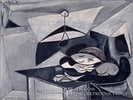Woman Asleep at a Table by Pablo Picasso (inspired by)
