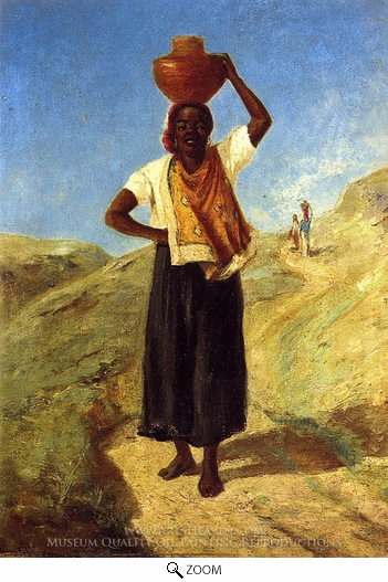 Painting Reproduction of Woman Carrying a Pitcher on Her Head, Camille Pissarro