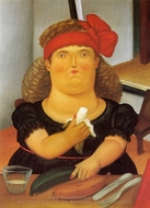 Woman Eating a Banana painting reproduction, Fernando Botero