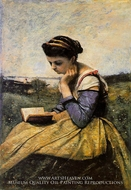 Woman Reading in a Landscape by Jean-Baptiste Camille Corot