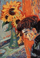 Woman's Head with Sunflower by Ernst Ludwig Kirchner