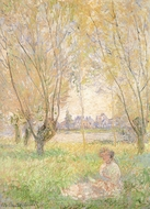 Woman Seated Under the Willows painting reproduction, Claude Monet