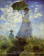 Woman with a Parasol painting reproduction, Claude Monet