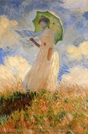 Woman with a Parasol Facing Left painting reproduction, Claude Monet