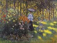 Woman with a Parasol in the Garden at Argenteuil painting reproduction, Claude Monet