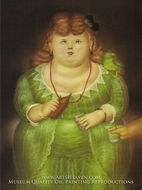 Woman with a Parrot painting reproduction, Fernando Botero