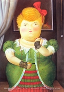 Woman with a Red Bow painting reproduction, Fernando Botero