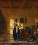 "Woman with a Water Pitcher, and a Man by a Bed (""The Maidservant"") by Pieter De Hooch"