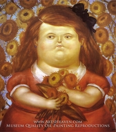 Woman with Flowers painting reproduction, Fernando Botero