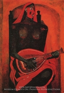 Woman with Red Mask painting reproduction, Rufino Tamayo