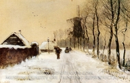 Wood Gatherers on a Country Lane in Winter by Louis Apol